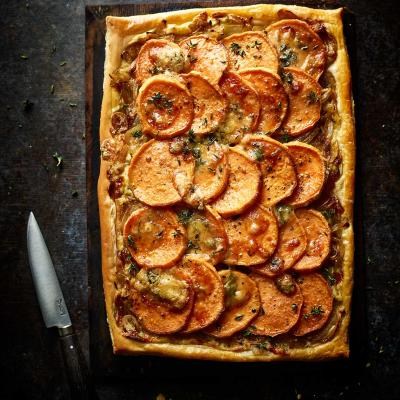 Sweet potato and Stilton tart