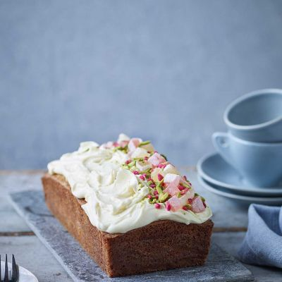 Rose, pistachio and white chocolate loaf