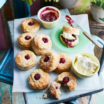 Double raspberry and clotted cream scones