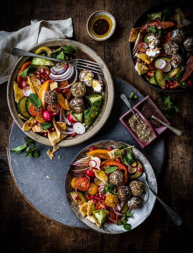 Recipe: Fattoush salad with herbed labneh balls