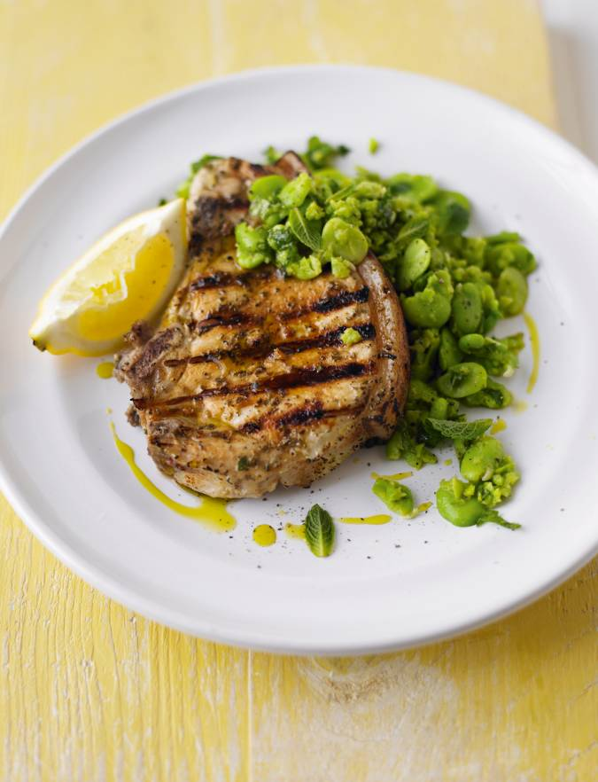 Recipe: Marinated pork chops with smashed broad beans