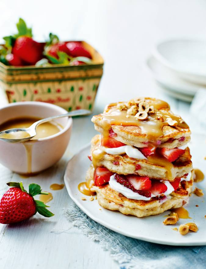 Recipe: Strawberry ricotta pancakes with salted caramel sauce