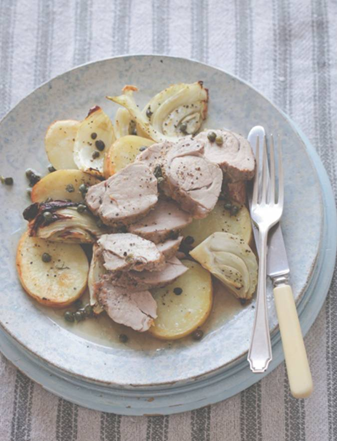 Recipe:  Roast pork with potatoes, lemon, fennel & capers