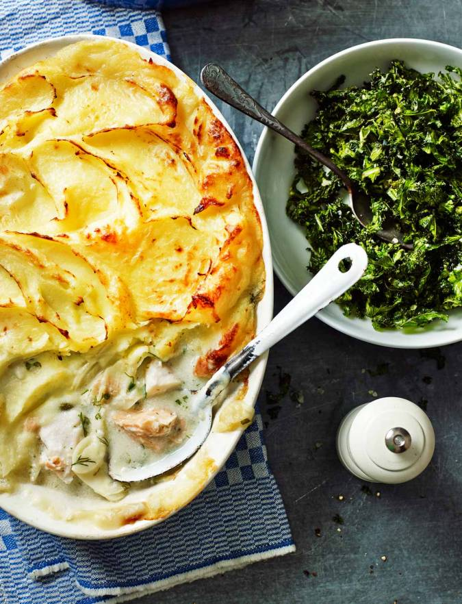 Recipe: Dairy-free fish pie with crispy kale