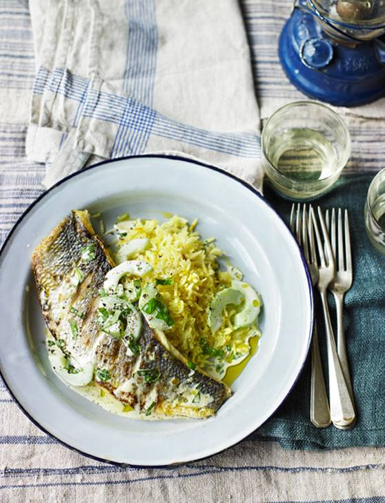 Recipe: Grilled sea bass with cucumber and basil sauce and saffron pilaf