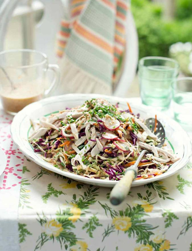 Recipe: Japanese chicken coleslaw with ginger almond dressing