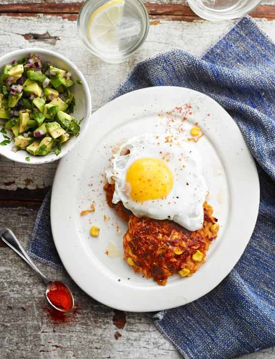 Recipe: Sweet potato rostis with fried eggs and avocado salsa