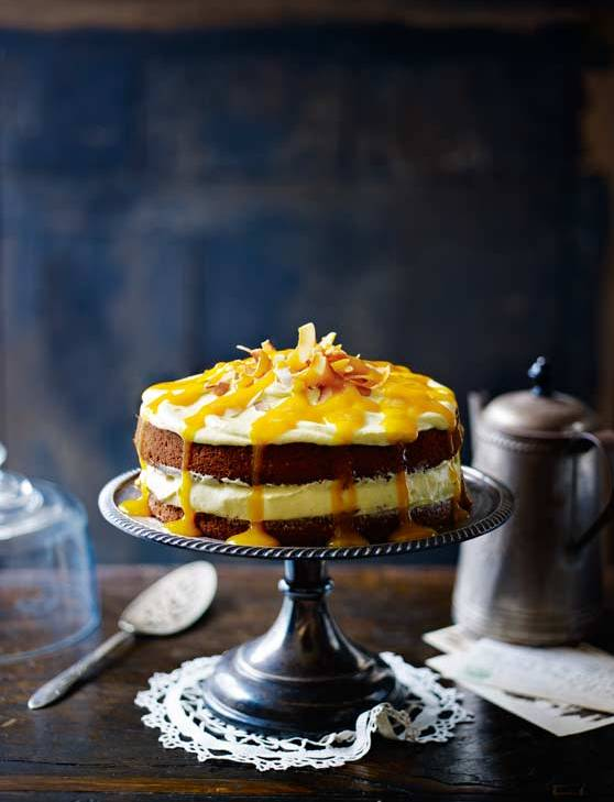 Recipe: Coconut cake with mango cream cheese frosting and mango drizzle