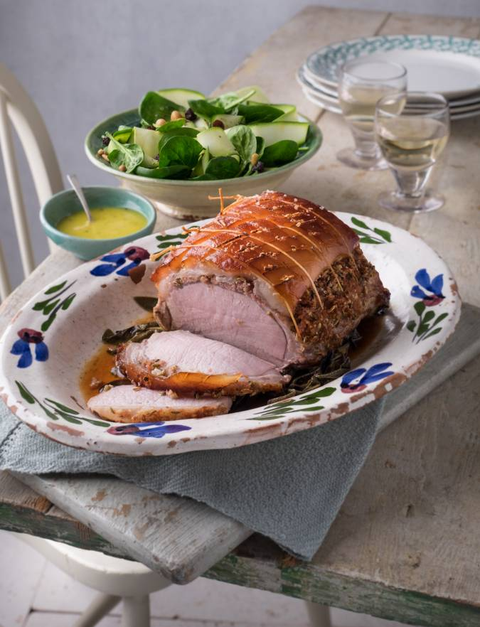 Recipe: Porchetta-style roast pork with a courgette, chickpea and spinach salad