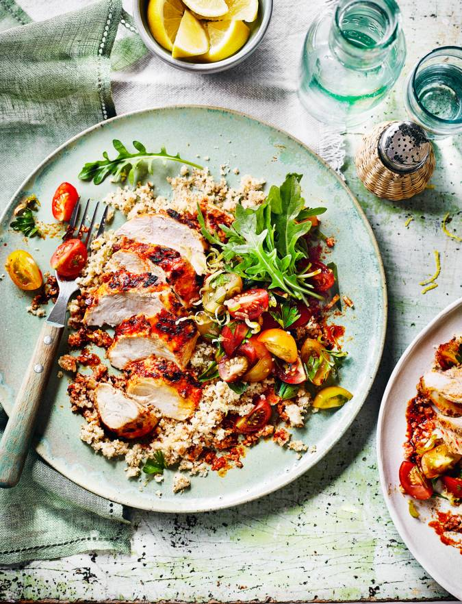 Recipe: Harissa chicken with cauliflower couscous and chermoula tomatoes