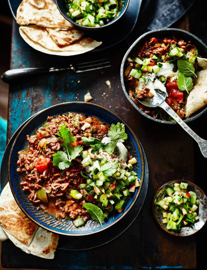 Recipe: Quick-cook ancho con-carne with cucumber salsa