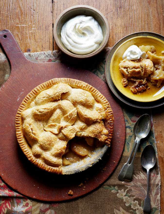 Recipe: Stem ginger-spiced apple pie with hazelnut pastry