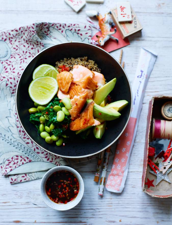 Recipe: Teriyaki salmon and kale bowl