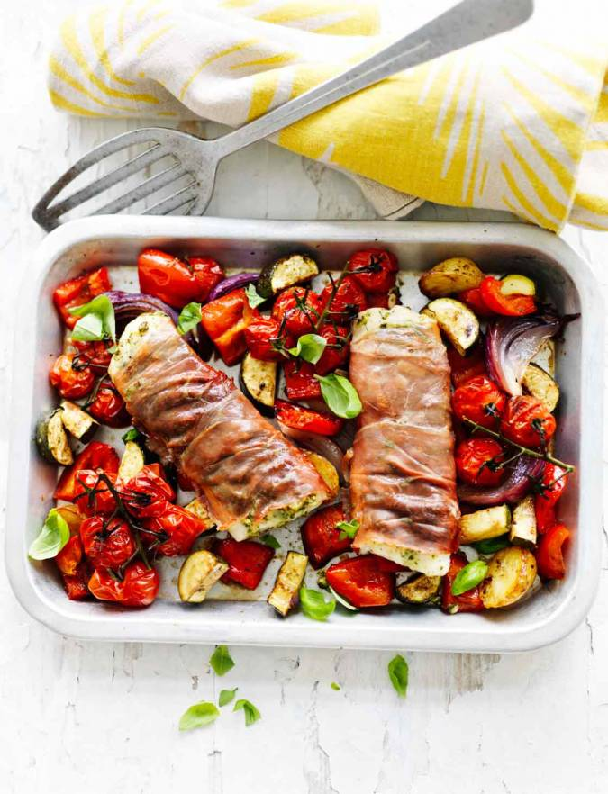 Recipe: Parma ham-wrapped cod and Mediterranean vegetables