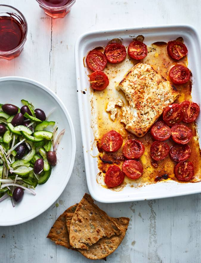 Recipe: Honey-baked feta with cucumber salad