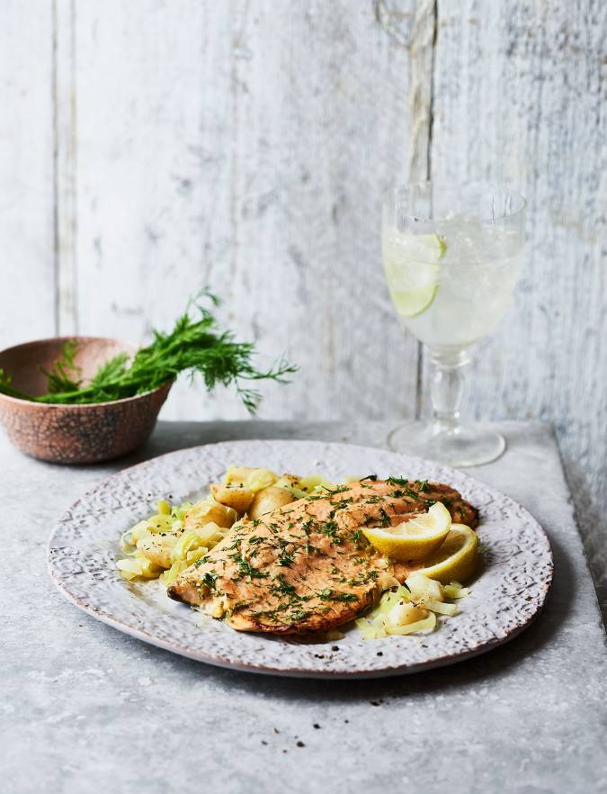 Recipe: Dill mustard trout with smashed potatoes