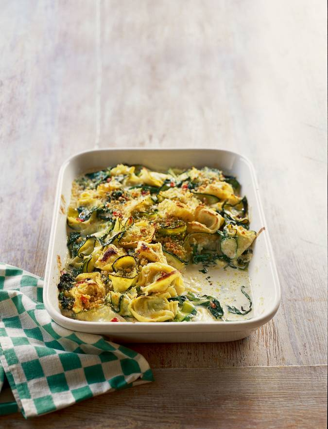 Recipe: Courgette and spinach tortelloni gratin