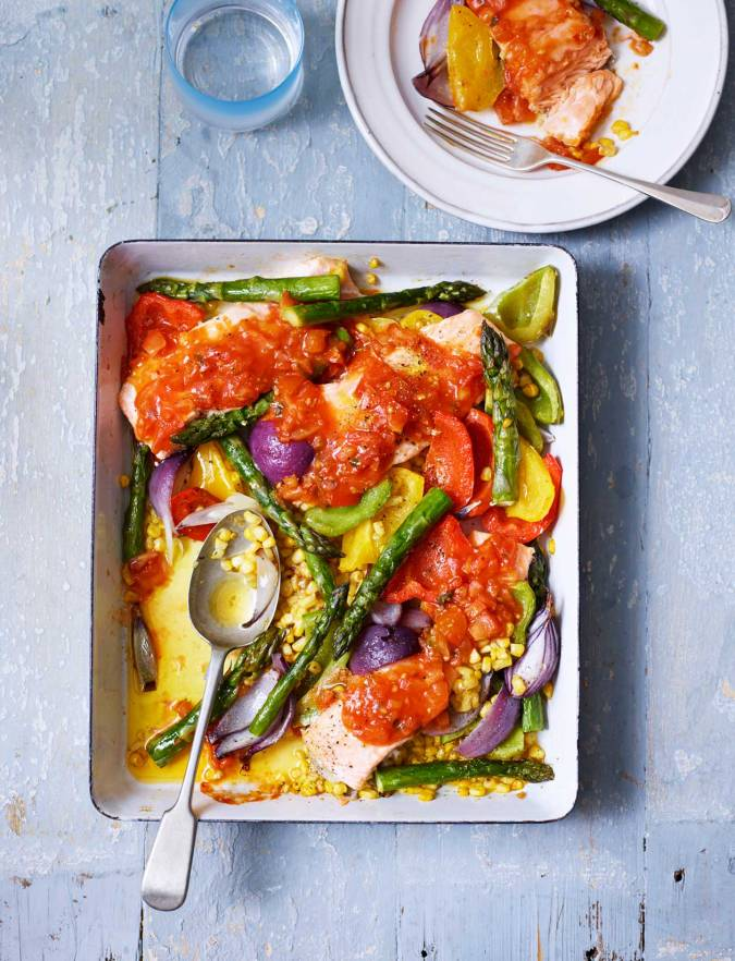 Recipe: Salsa salmon and summer veg traybake