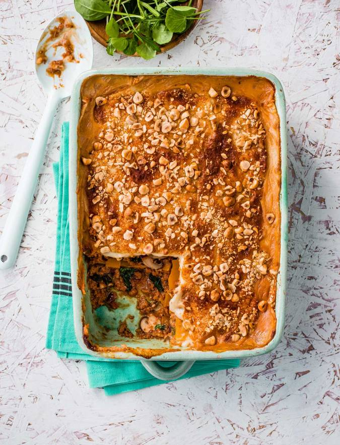 Recipe: Vegan lasagne with butternut squash and hazelnuts