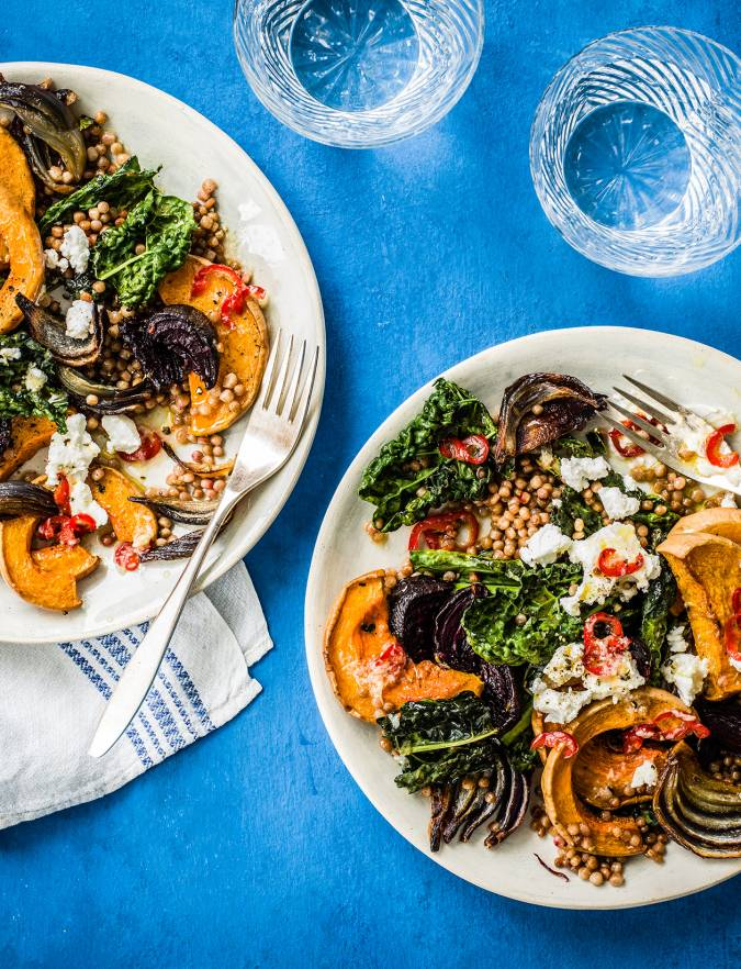 Recipe: Tray-baked squash, beetroot and giant couscous with goats' cheese