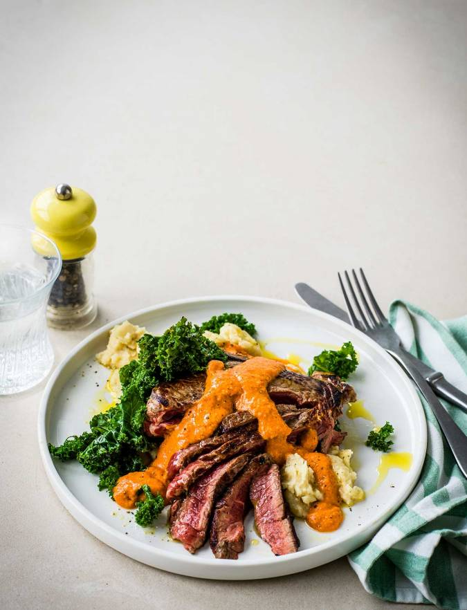 Recipe: Steak with Romesco sauce and butterbean mash
