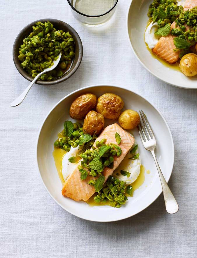 Recipe: Roast salmon with zesty peas and mint