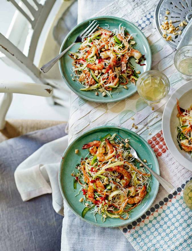 Recipe: Griddled prawns with mango, noodles and herbs