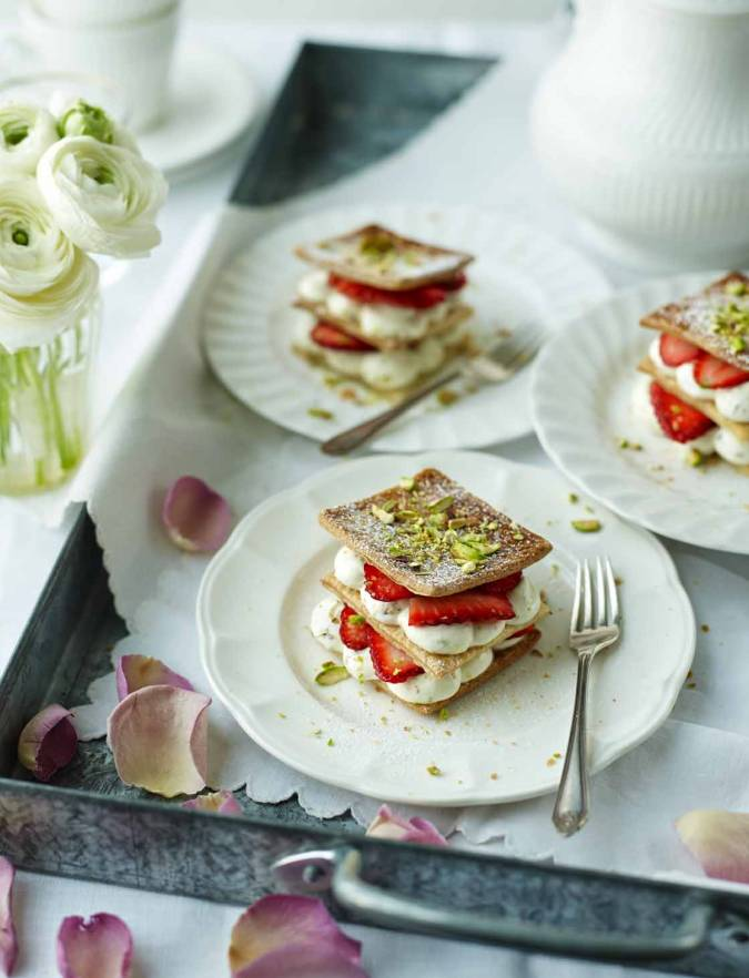 Recipe: Rose and pistachio strawberry millefeuille