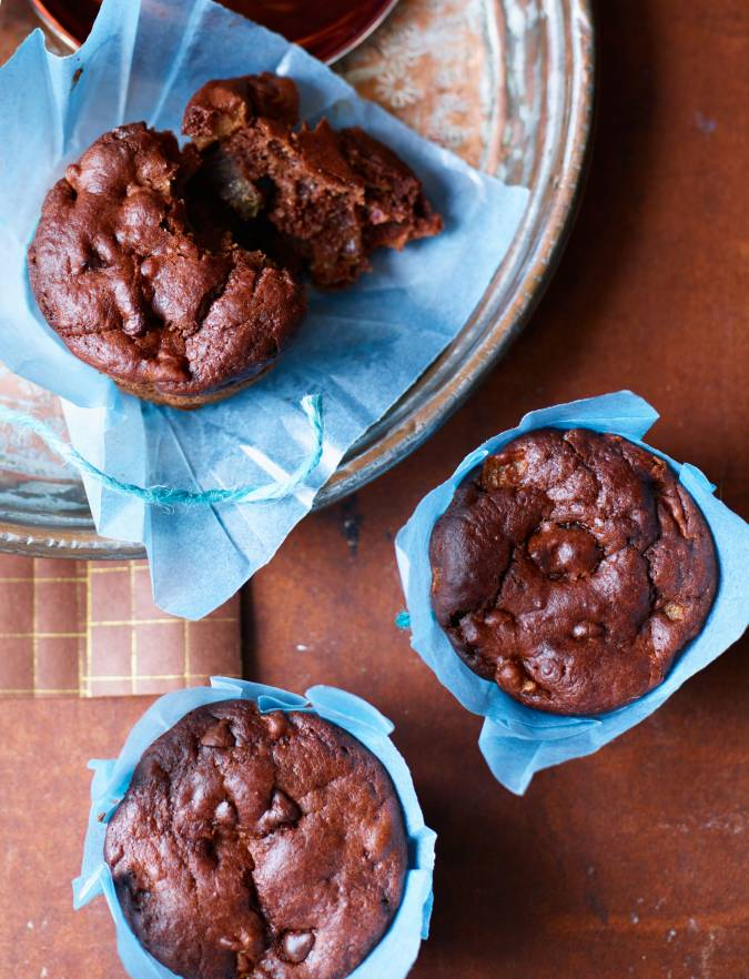 Recipe: Chocolate brownie, date and pear muffins