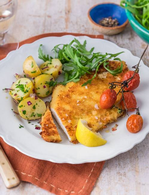 Recipe: Chicken Parmesan with rocket and new potato salad