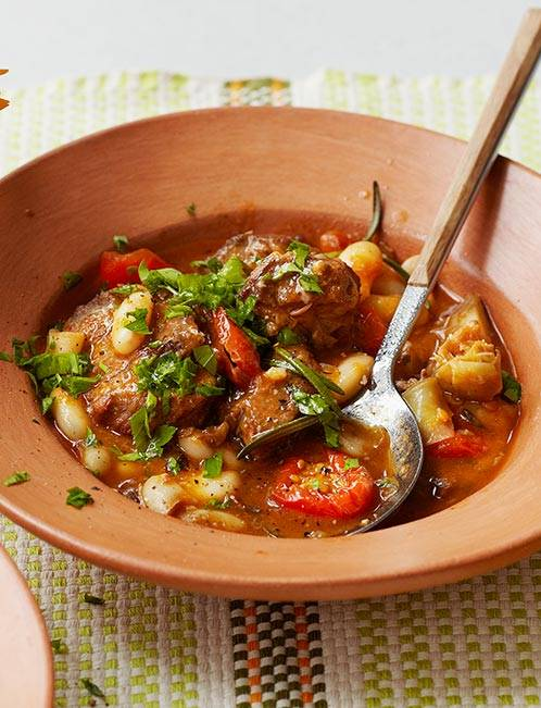 Recipe: Lamb stew with artichokes, cannellini beans and sunsoaked tomatoes