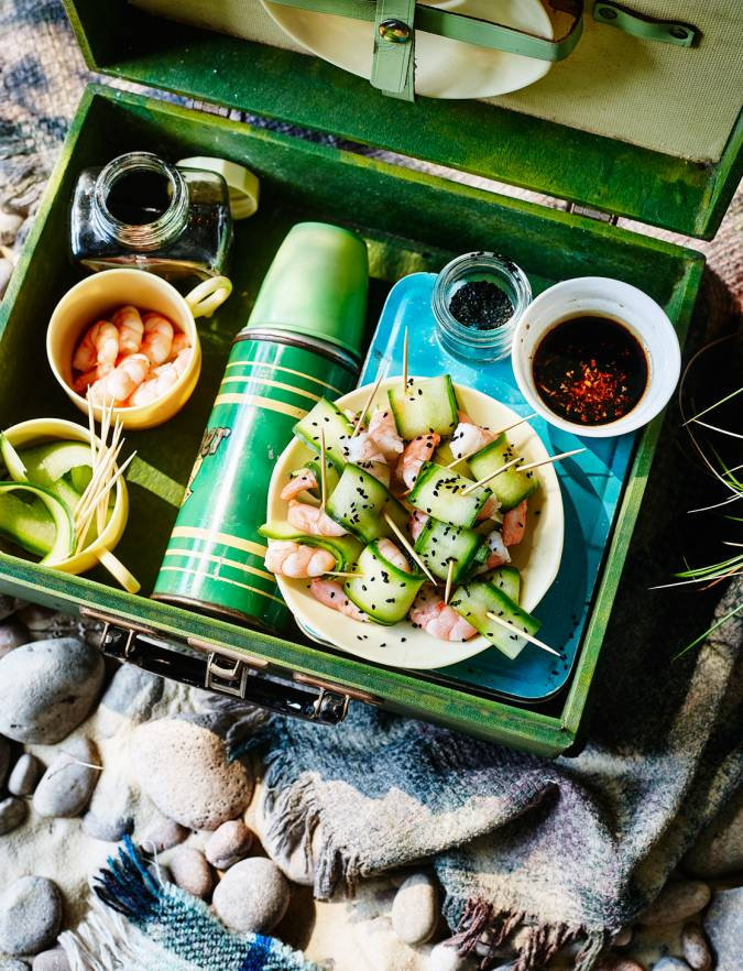 Recipe: Prawns in cucumber 'noodles' with a Japanese dipping sauce