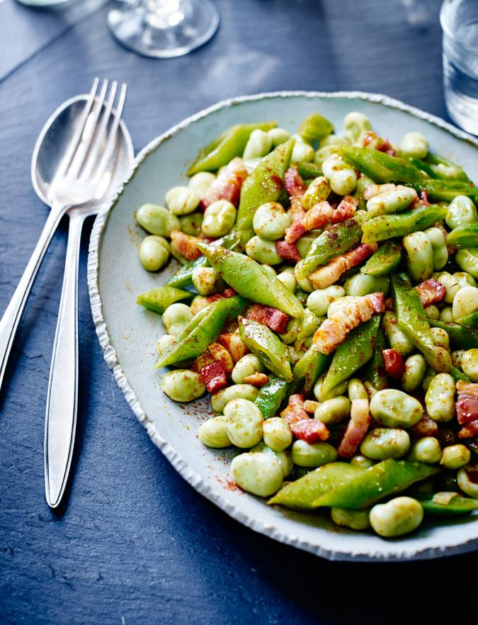 Recipe: Smoky broad beans and runner beans with bacon