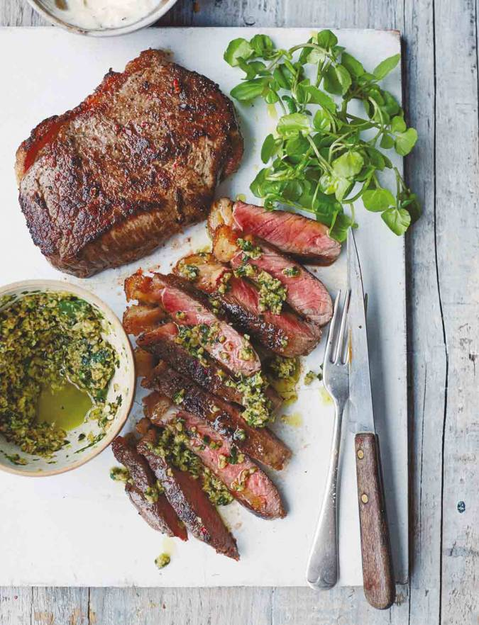 Recipe: Steak with green olive tapenade and garlic mayo
