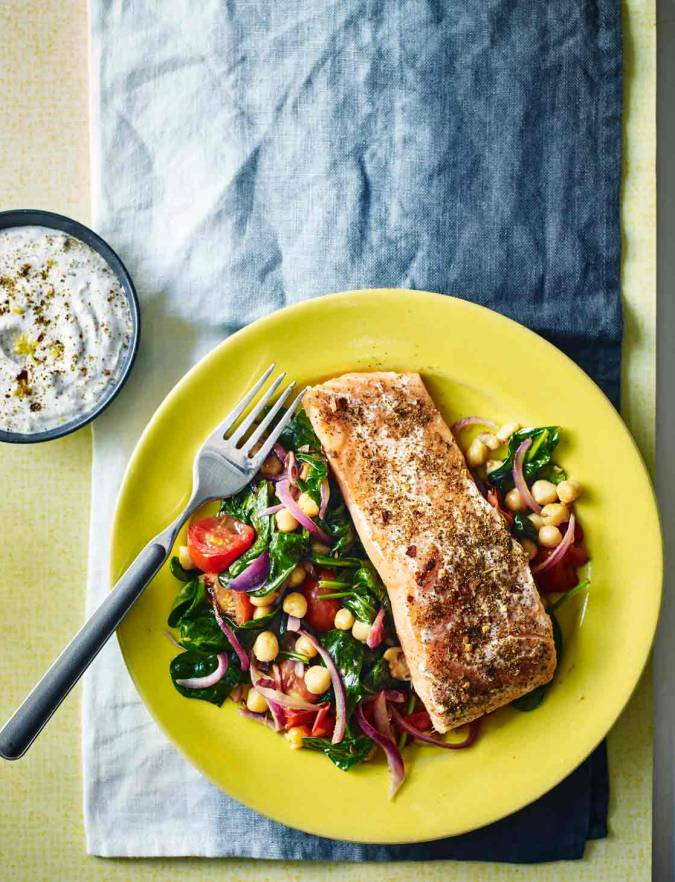 Recipe: Harissa salmon with warm chickpea salad