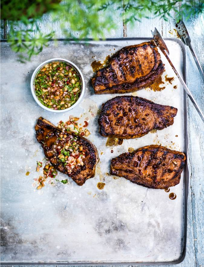 Recipe: Sweet soy pork steaks with peanut dipping sauce