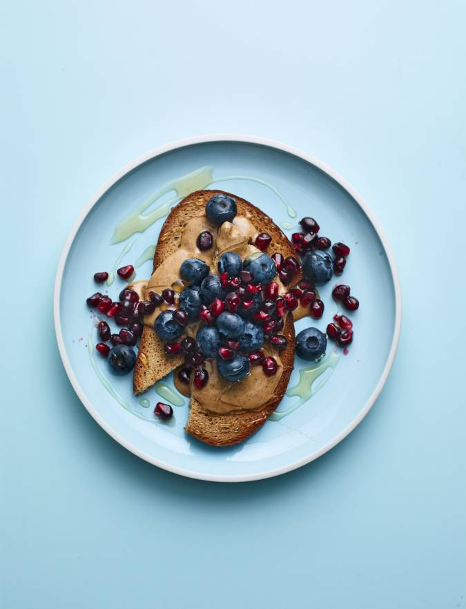 Recipe: Nut butter on toast with blueberries and pomegranate