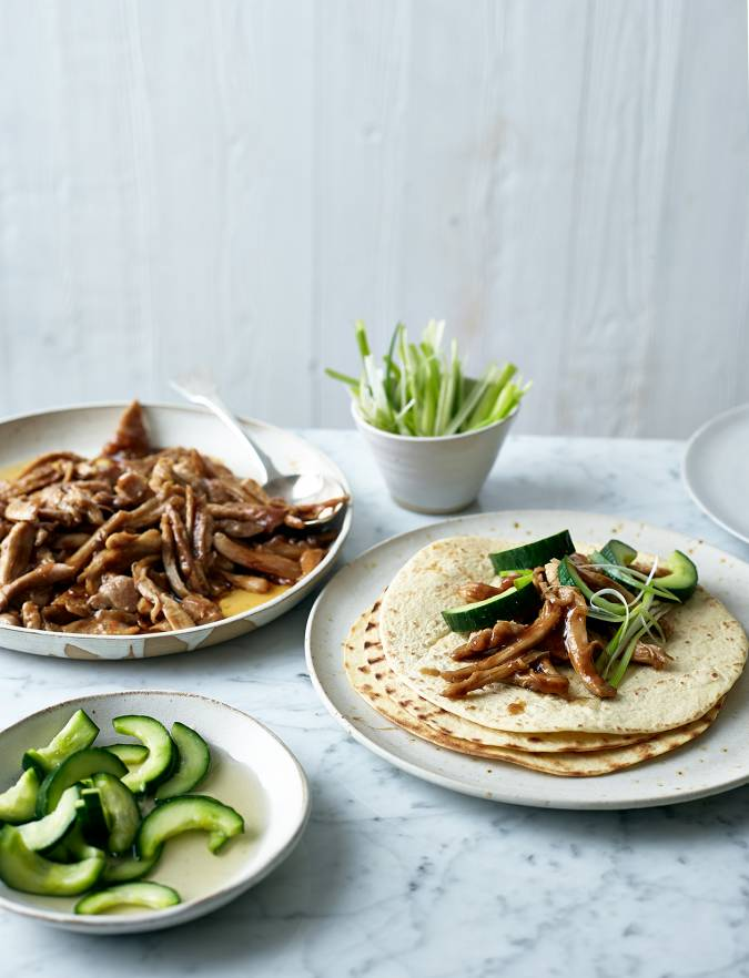 Recipe: Hoisin chicken wraps with quick pickled cucumber