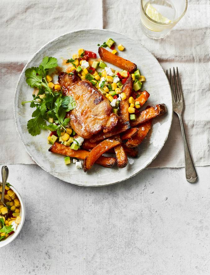 Recipe: Peri peri pork with sweet potato wedges and sweetcorn salsa