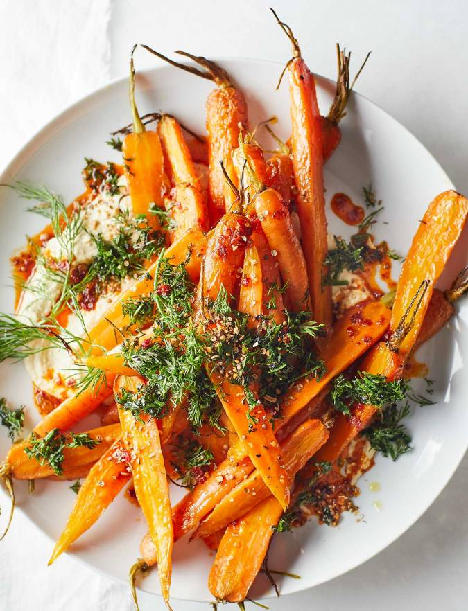 Recipe: Roast carrot and houmous salad with harissa