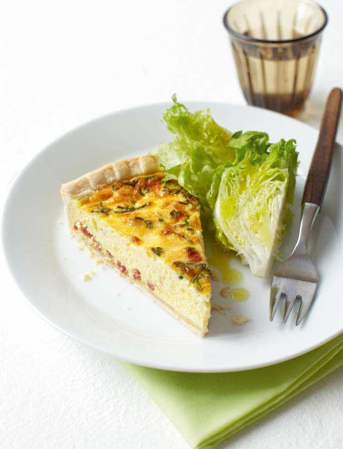 Recipe: Bacon, cheese and chive quiche