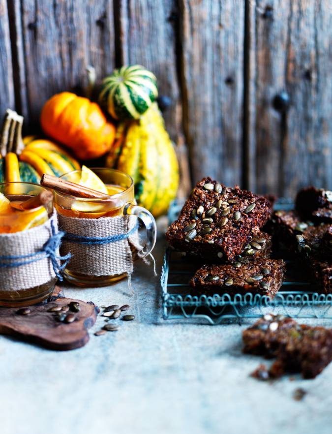 Recipe: Pumpkin seed, black treacle and ginger squares