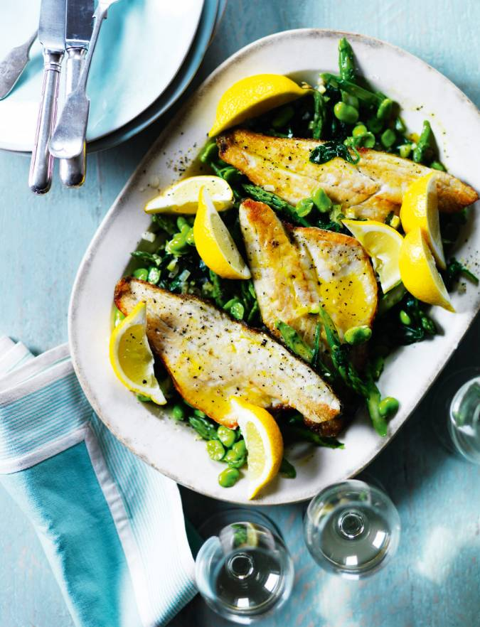 Recipe: Sea bass with asparagus, broad beans and spinach