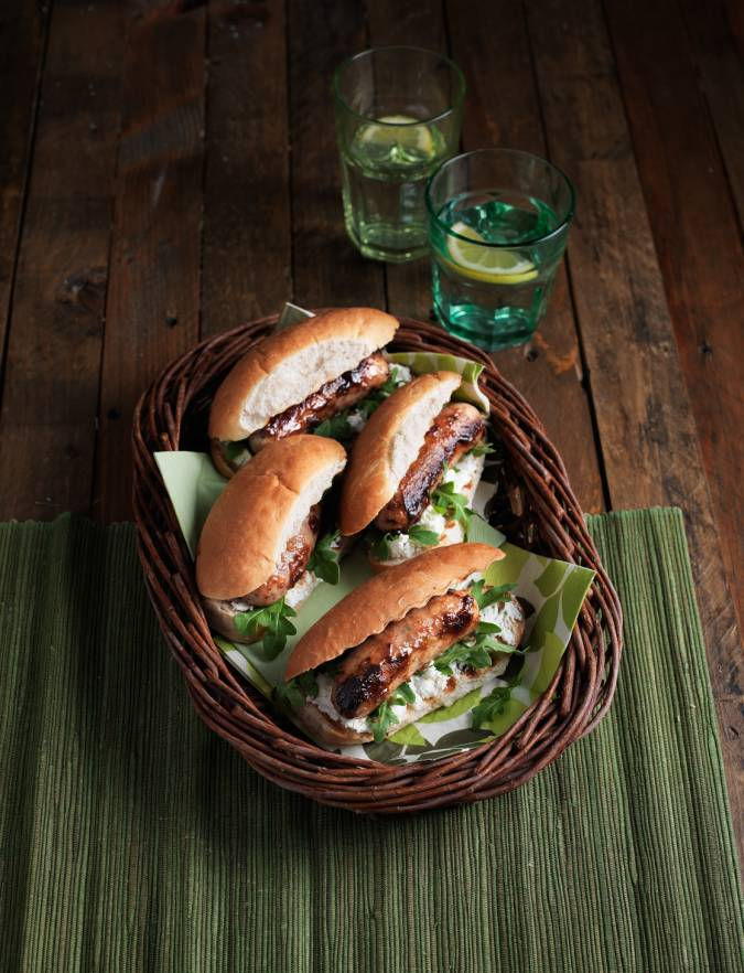 Recipe: Goats' cheese and caramelised red onion hot dogs