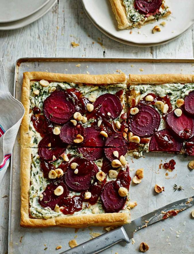 Recipe: Beetroot, goats' cheese and hazelnut tart