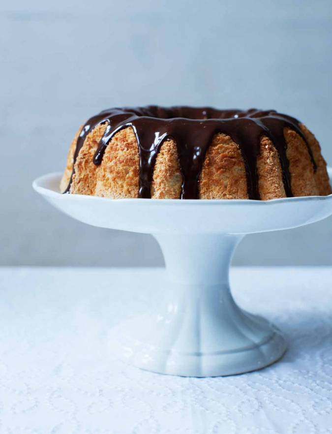 Recipe:  Angel food cake with dark chocolate ganache