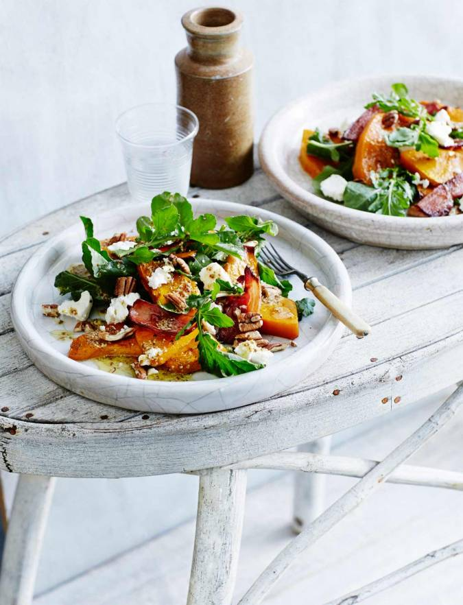 Recipe: Maple roasted squash with bacon, feta and pecans
