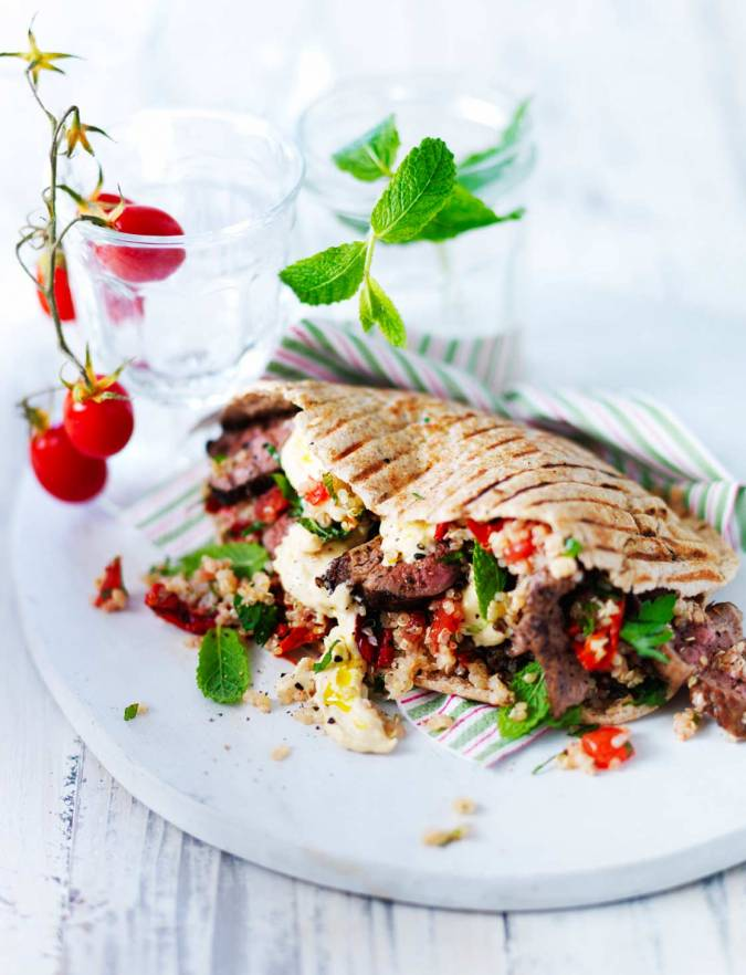 Recipe: Griddled lamb, mint and tomato couscous wraps