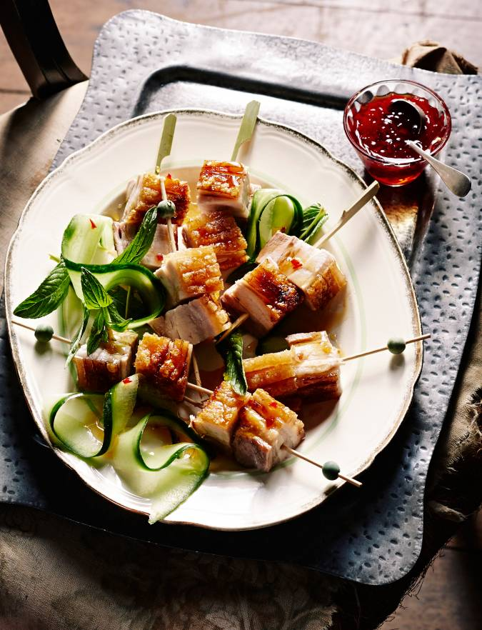 Recipe: Crispy pork belly skewers with chilli garlic caramel dipping sauce