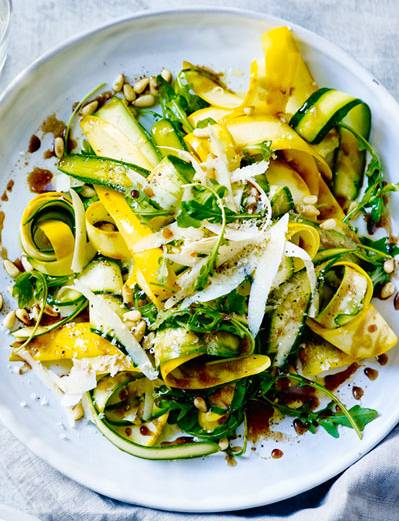 Recipe: Balsamic courgette, pine nuts and Parmesan salad